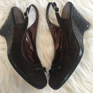 Coach Suede and Patent Leather Wedges Size 8.5